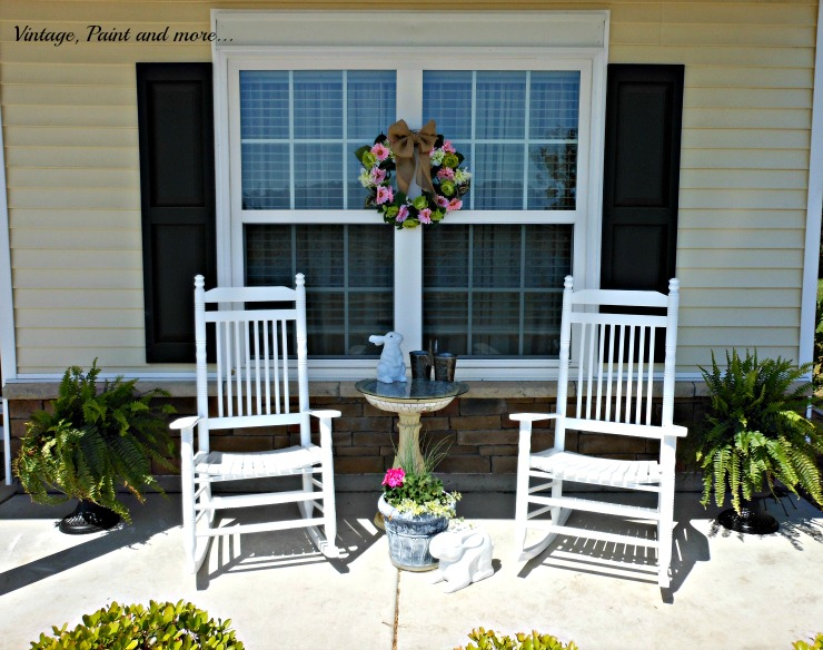 Vintage, Paint and more... Spring flowers, DIY wreath, and sun loving container plants used on a Spring porch