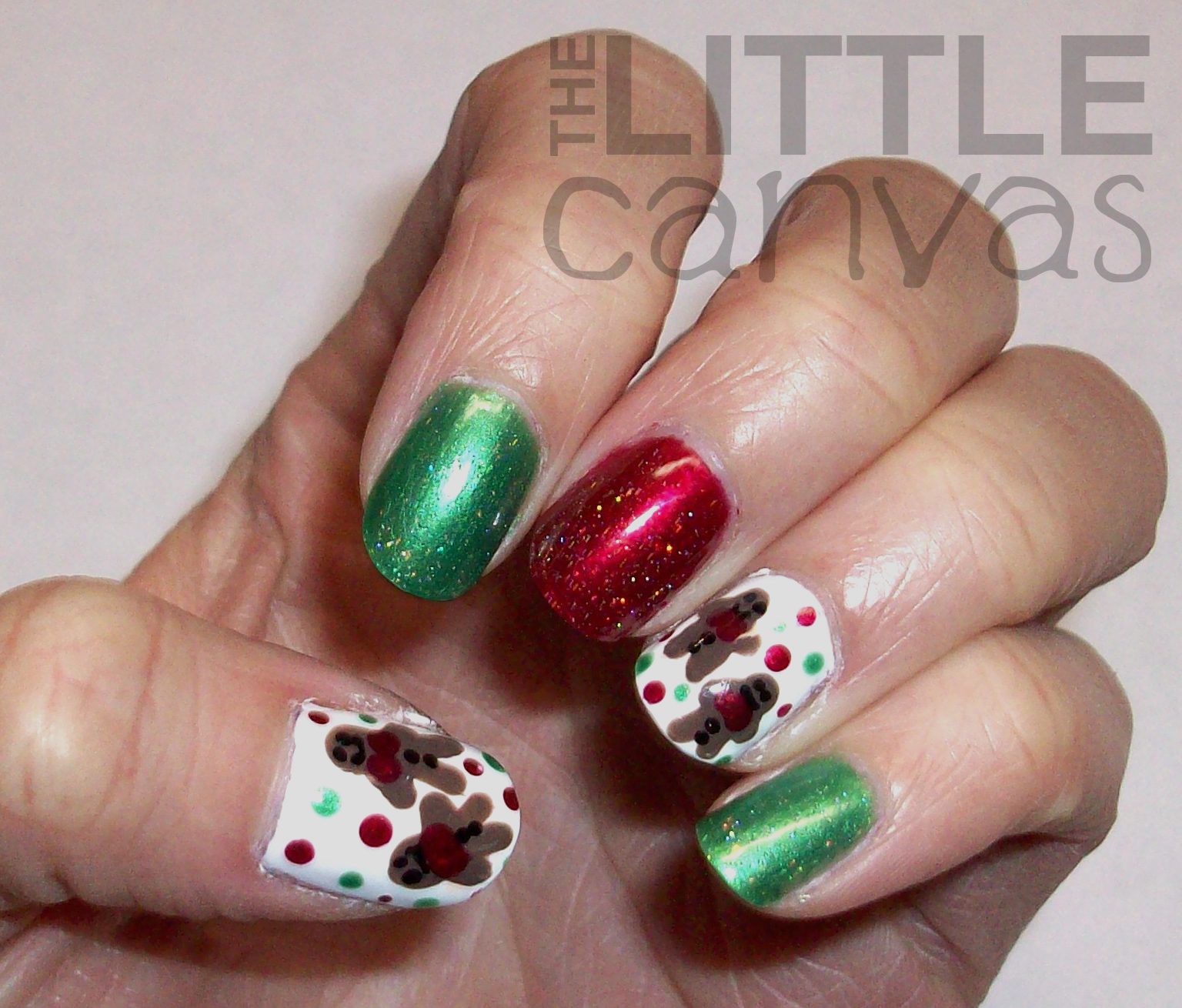 Gingerbread men nail art the little canvas gingerbread men nail art prinsesfo Image collections
