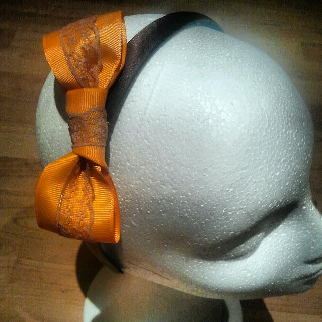 marrones diademas, lazo, naranja, puntilla