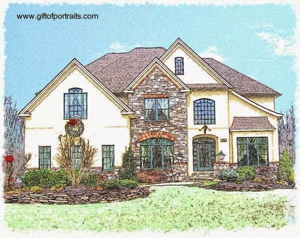 Dibujo con lápiz a color de una casa residencial americana clásica