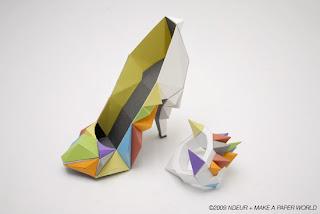 zapatos de papel con tacones