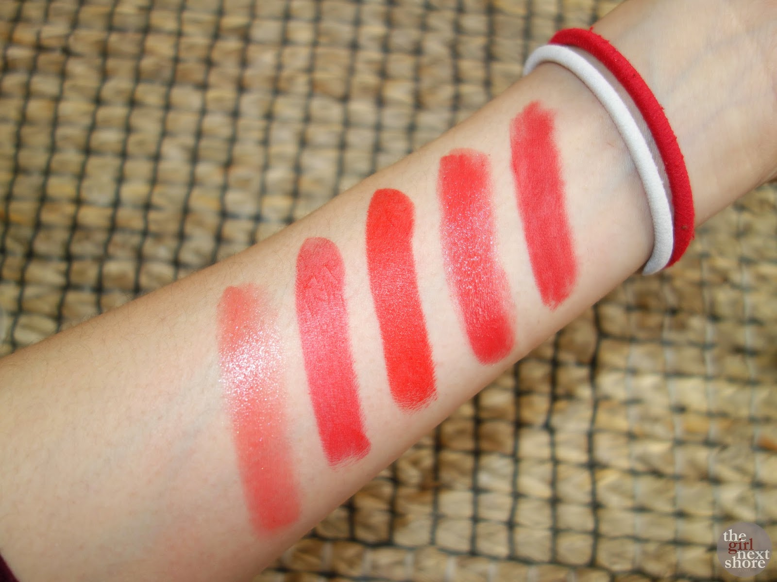 MAC Dreaming Dahlia, Nars Heat Wave, MAC Lady Danger, MAC Redd