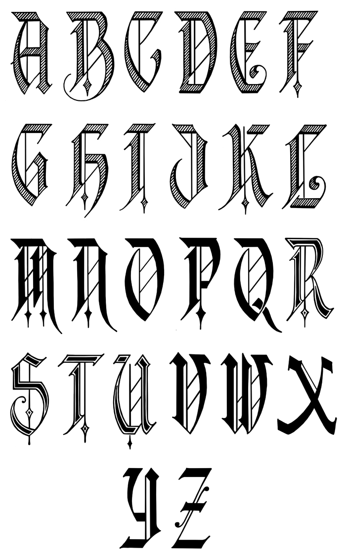 Calligraphy alphabet january 2013 for Template gothic font free