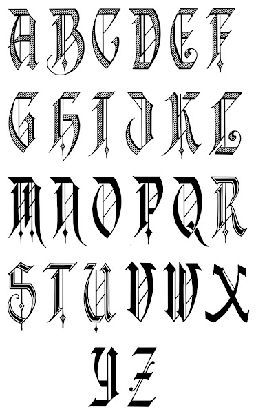 Letter Old English Calligraphy Alphabet Fonts