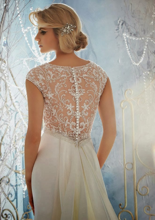 translucent lace wedding dress