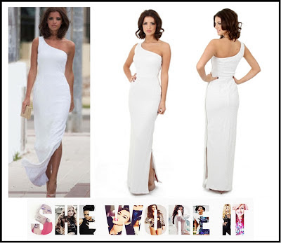 All Over Sequin, Dress, Lucy Mecklenburgh, Lucy's Boutique, Marbella, Maxi, One Shoulder, Sequin, Shiny, Spilt, Thigh Split, White,