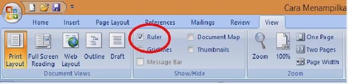 menampilkan ruler dengan ikon