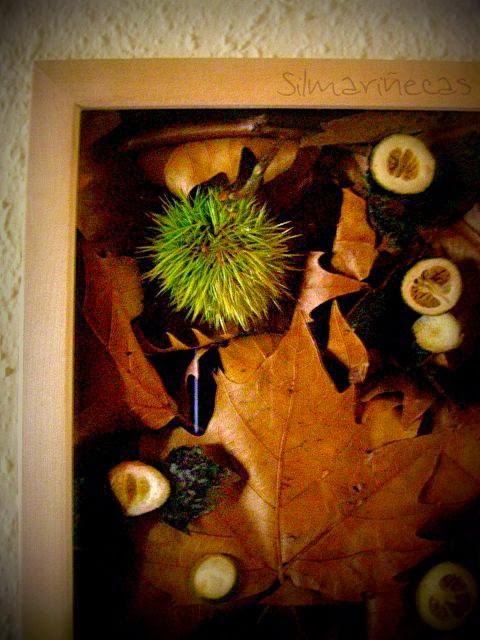 como hacer un cuadro con hojas caídas y frutos de otoño