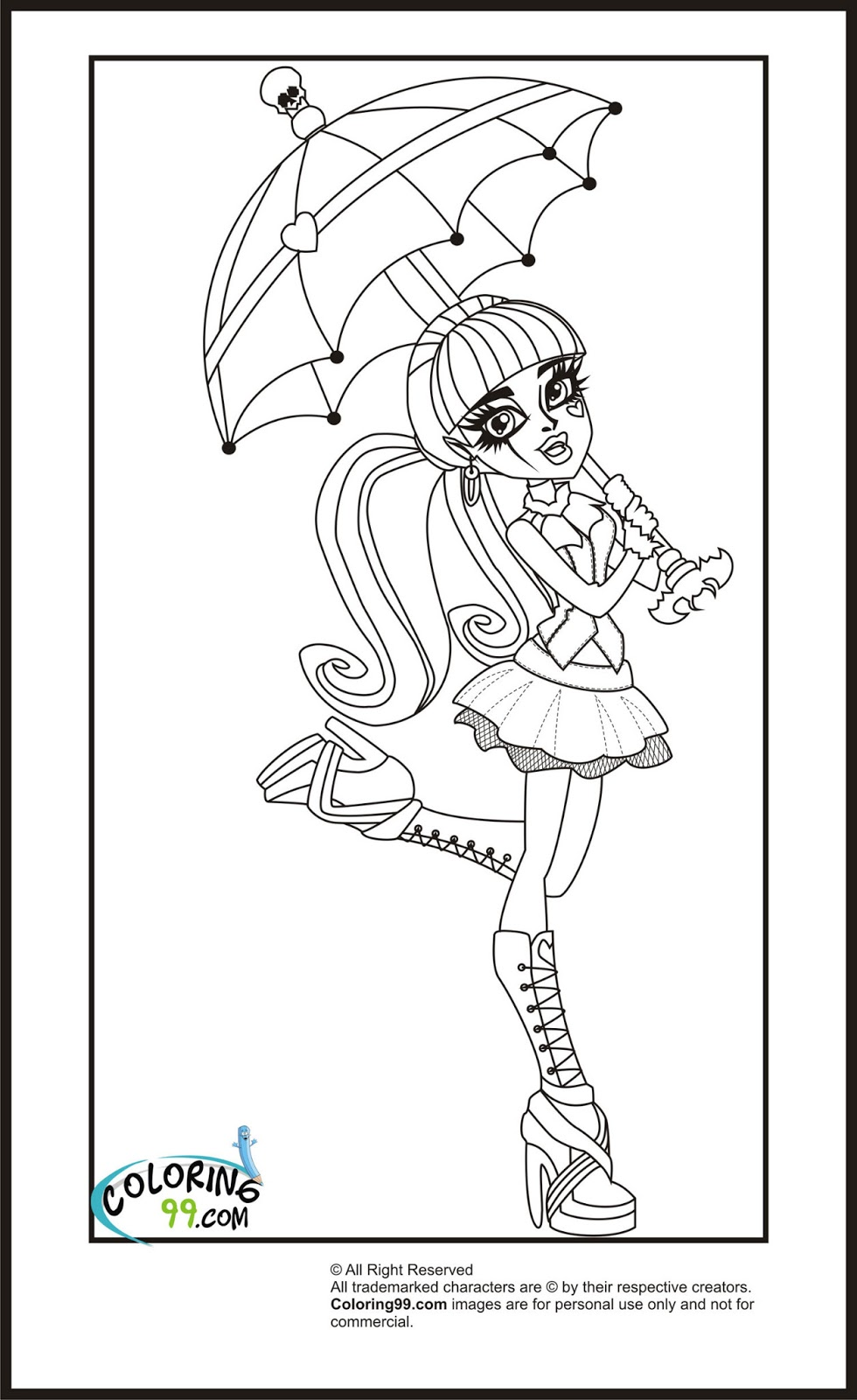 Monster high draculaura coloring pages team colors for Monster coloring pages