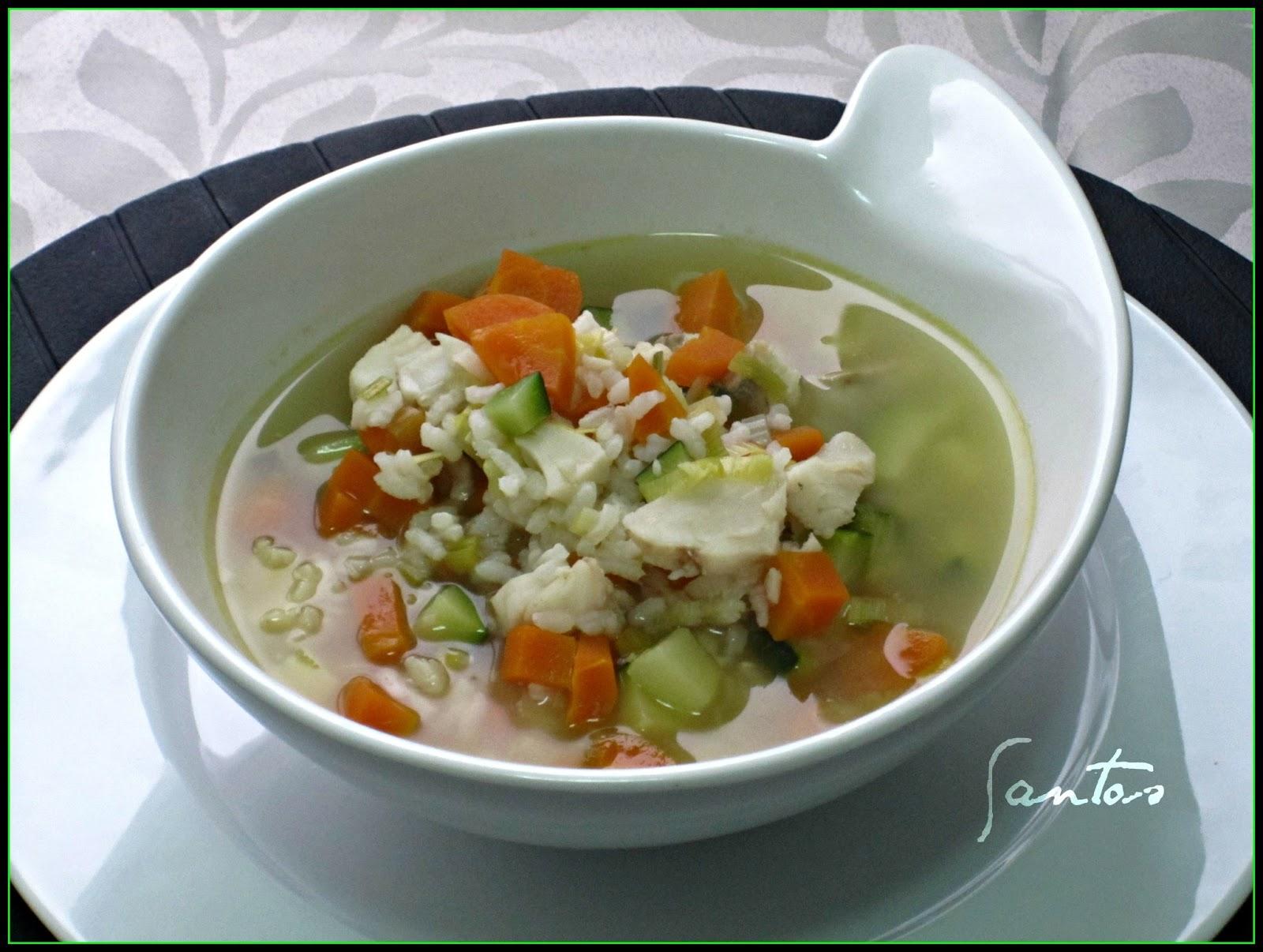 Las tentaciones de los santos sopa de arroz y verduras - Arroz con pescado y verduras ...
