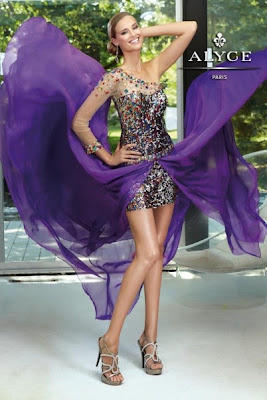 Sequined prom dresses in various colors on the skirt, a sheer one sleeve, jewel corset with side zipper. This dress is perfect for Prom, Cocktail or perhaps other events.
