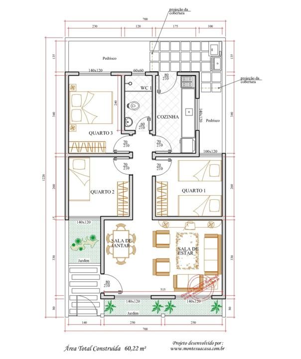 Plantas de casas gratis com 3 quartos e garagem for Plantas de casas tipo 3