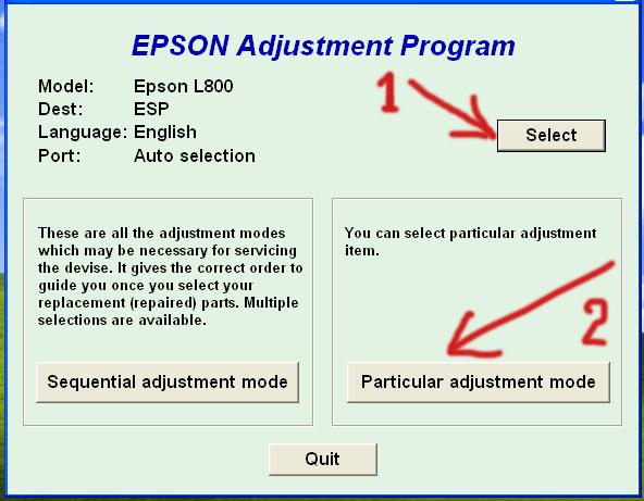 Printer Service Solution: Adjustment Program Epson L800