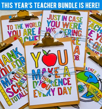 The 2018 Teacher Appreciation Printables are SO FUN and come with free coordinating bonus tags!
