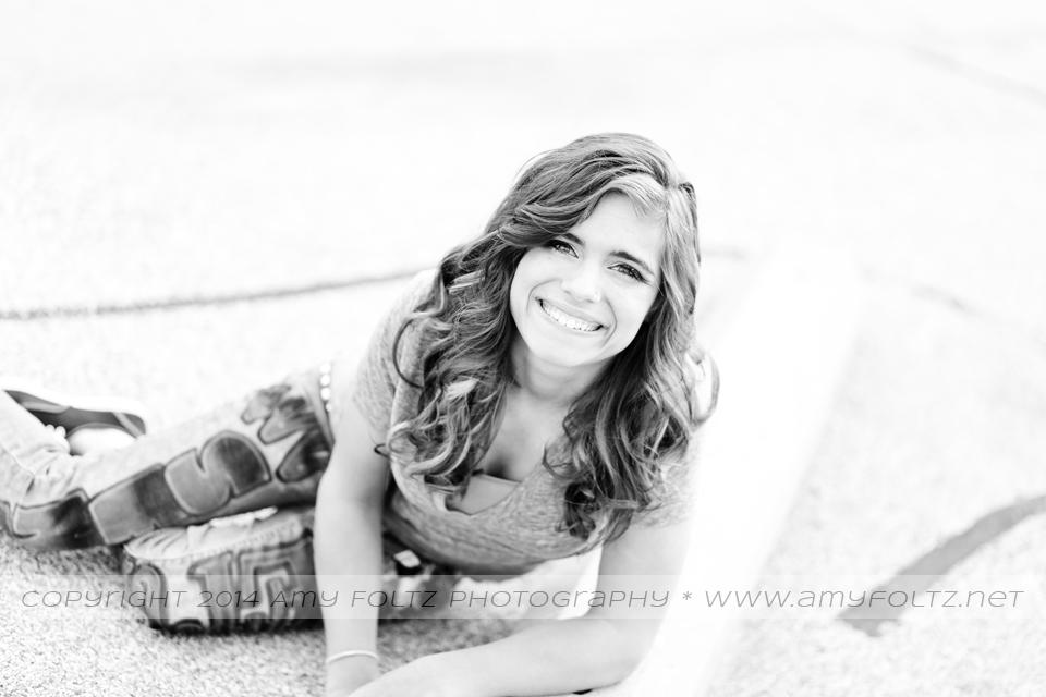 black and white senior photo - Terre Haute Photographer