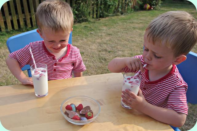 Strawberries, milk and Cadbury's