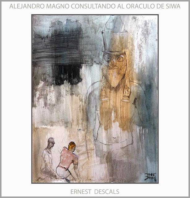 ALEJANDRO MAGNO-PINTURA-SIWA-EGIPTO-ORACULO-AMON-RA-ARTE-SACERDOTES-DIOSES-EGIPCIOS-ARTISTA-PINTOR-ERNEST DESCALS-