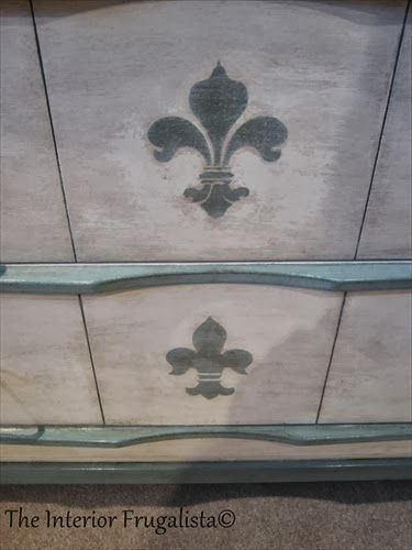 Stenciled Fleur-di-Lis on faux secretary desk drawers