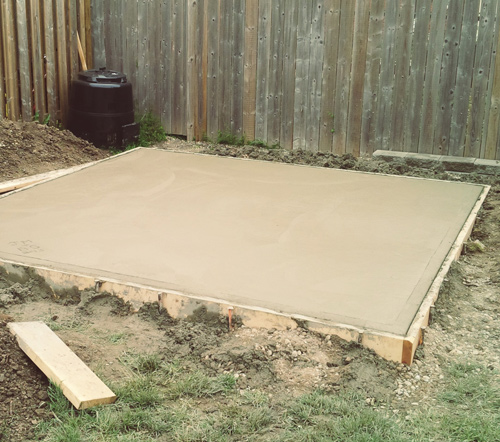 Dig the Bed // Depending on how deep you would like your concrete pad