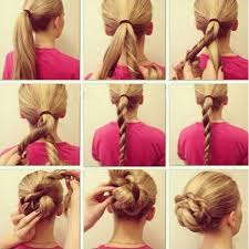 Twisted braid and bun hairstyle