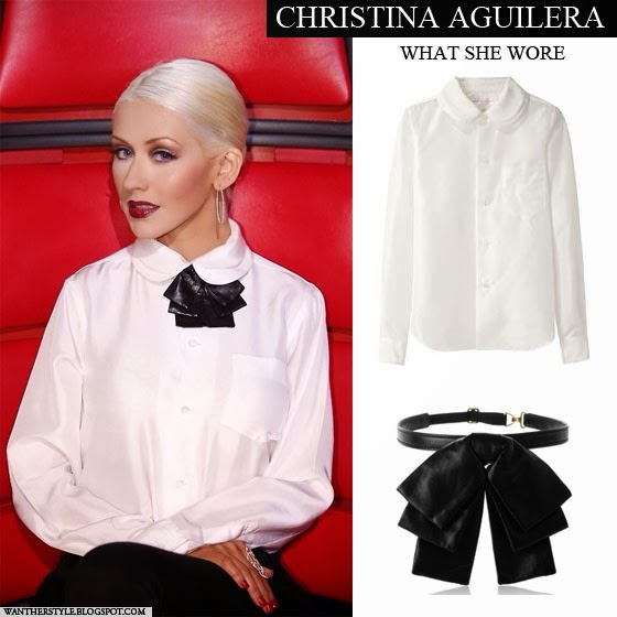 Christina Aguilera in white double collar shirt with leather bow collar What she Wore