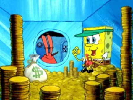 They spot Mr  Krabs into a Mr Krabs Money Bath