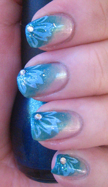 Teal Flower Manicure