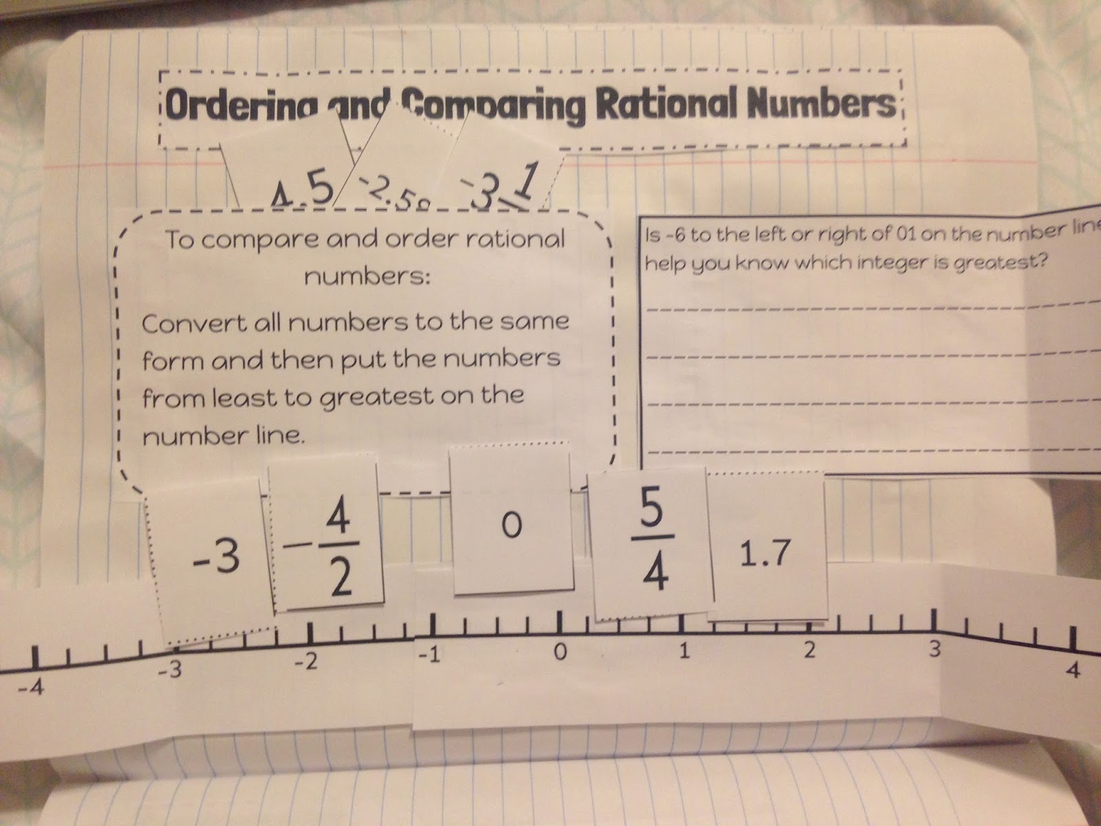 Teaching in an Organized Mess Interactive Notebook PagesRational – Ordering Real Numbers Worksheet