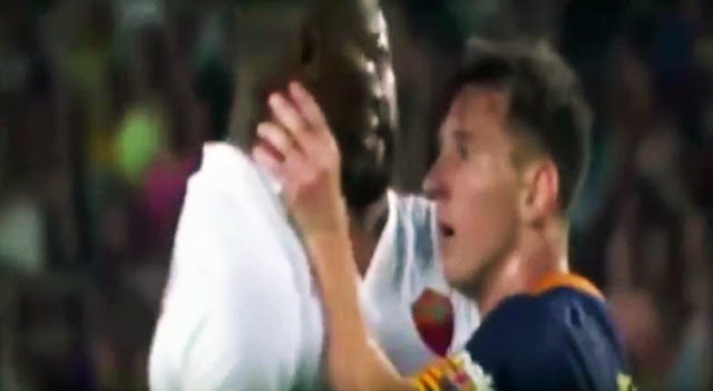 Video messi agrede al jugador de la roma mapou