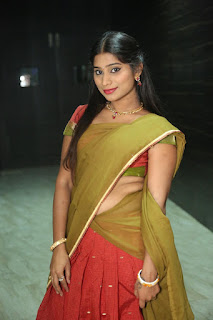 Midhuna Sizlles in lovely Half Green Red Saree Red Choli at SARS Movie Audio Launch