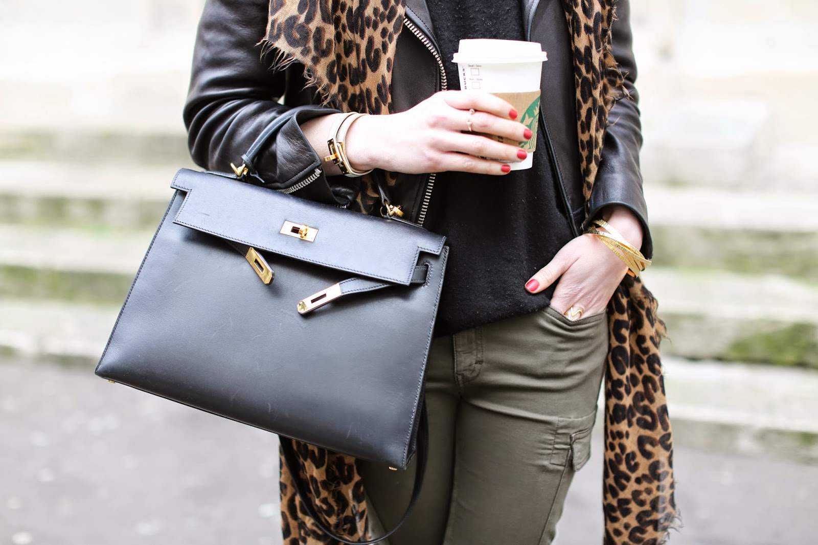 military, leopard, vuitton, hermès, acne, valentino, fashion blogger, starbucks, paris fashion week