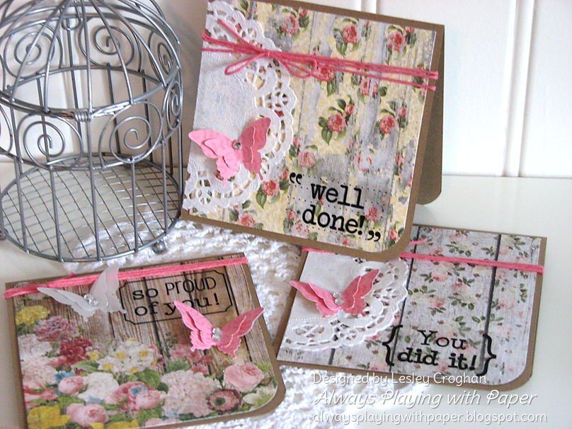 SRM Stickers Blog - 1 Sticker, 4 Cards by Lesley - #stickers #sentiments #congrats #cards #set #doilies #twine