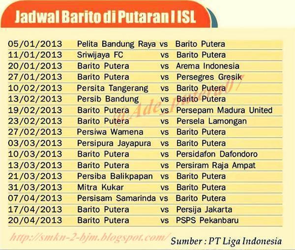 Jadwal Pertandingan PS Barito Putera ISL Putaran Pertama 5 Januari