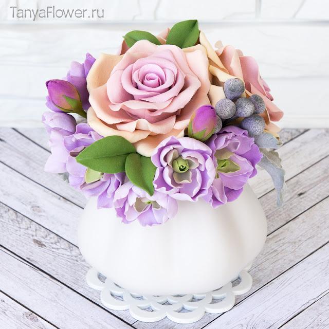 розы маттиола бруния полимерная глина керамическая флористика