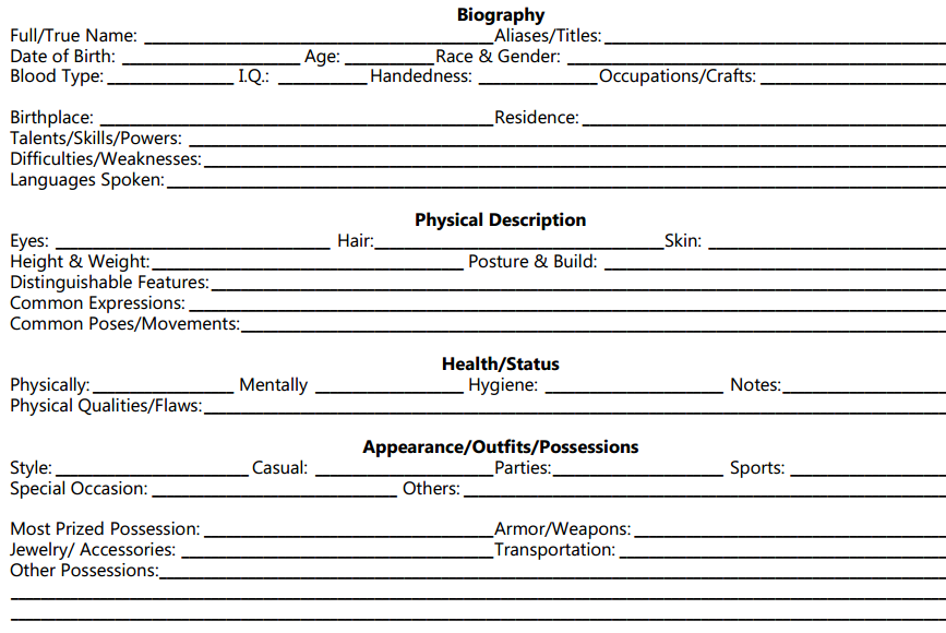 Screenplay Character Development Worksheet Image collections ...