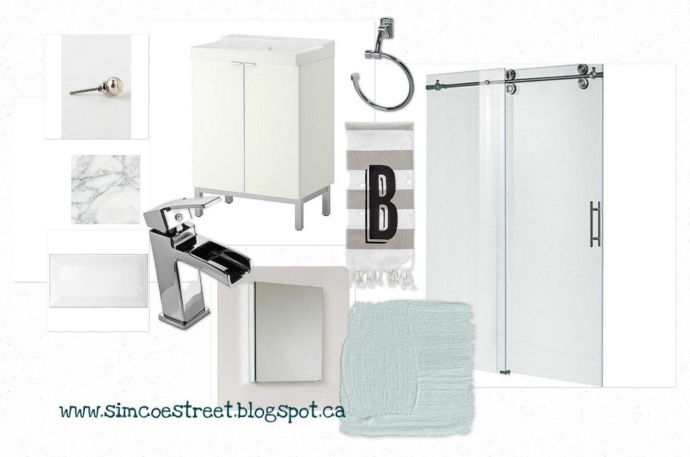 Simcoe Street Basement Bathroom Mood Board Design Plan Progress