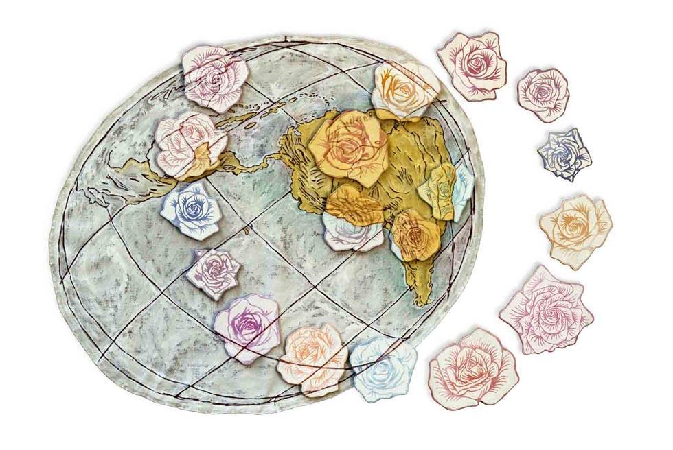 Rosas Latinas. 2003. Acrilica e MDF s/ Tela. 135 cm X 190 cm.
