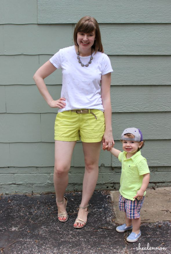 Neon yellow mom and toddler boy look | www.shealennon.com