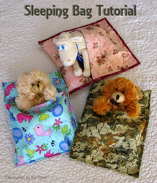 DIY Stuffed Animal Sleeping Bags, shared by Freemotion by the River