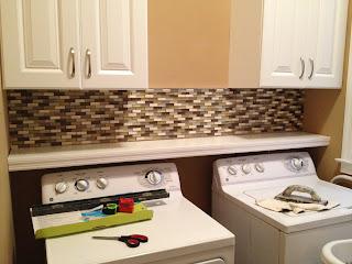 casalupoli laundry room update glass mosaic backsplash