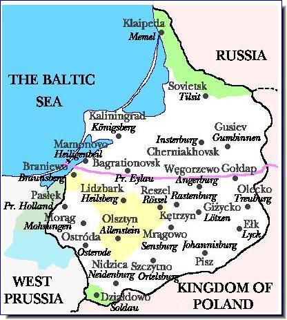 East prussia old new names Kaliningrad map