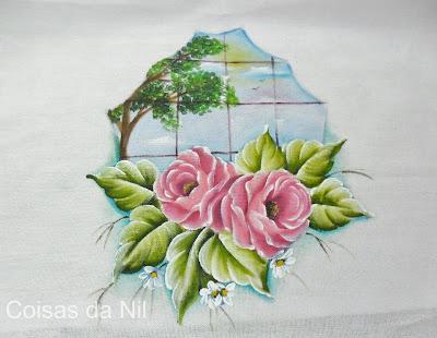 """pintura tecido rosas e janela"""