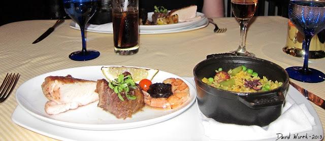 food at fellinis restaurant, cabo san lucas