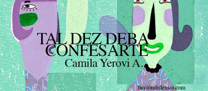 ilustración de 2 personas hablando, colores pardos, título de la obra tal vez deba confesarte de la autora Camila Yerovi Avendaño imagen libre de derecho de corbis.com