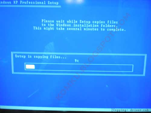 installing xp - setup is copying