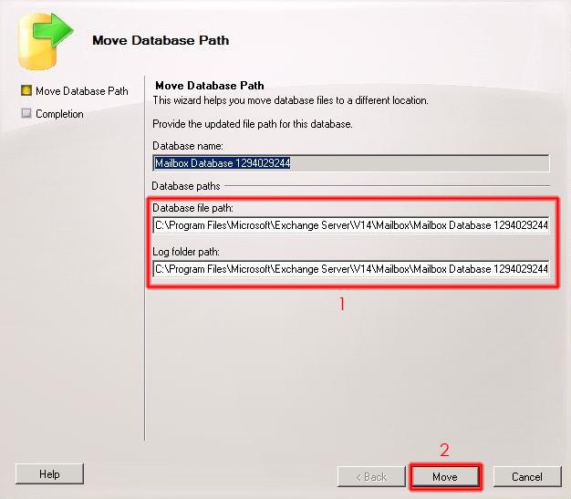 Destino Database Path y transaction logs.