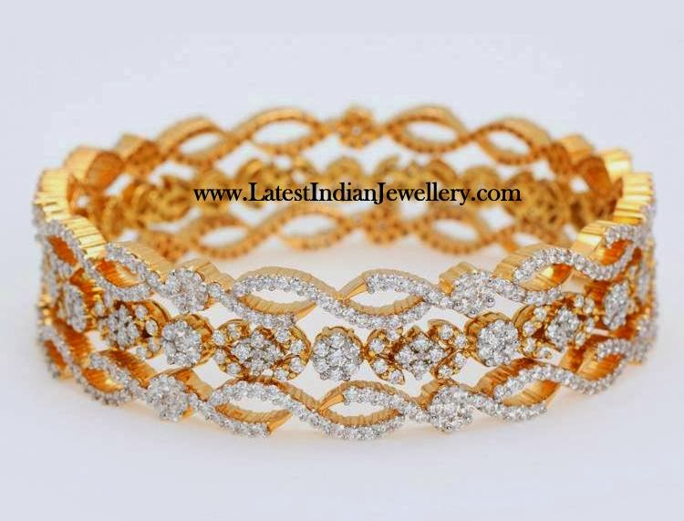 Three Diamond Bangles Set