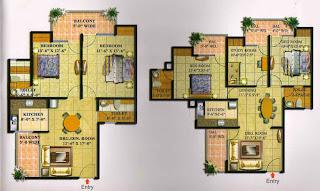 Livingston :: Floor Plans,Block F:-2 BHK (Type F)3 Bedroom, 2 Toilet, Kitchen, Dining, Drawing, Study Room, 3 Balconies Super Area - 1320 Sq Ft