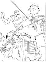 Mewarnai Gambar Spiderman Bertarung Dengan Manusia Pasir
